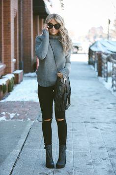Sweater - Lulu Lemon | Jeans - Urban Outfitters | Boots - Hunter via ShopBop | Sunnies - Karen Walker via ShopBop | Hang bag - Saint Laurent 'Anita' via Nordstrom | Ring - Melissa Lovy