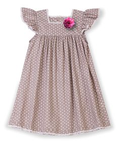 La faute à Voltaire Gray Polka Dot Angelique Dress - Toddler & Girls | zulily