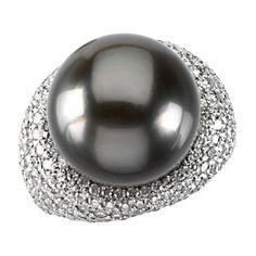 Tahitian Cultured & Diamond Ring #NationalSplurgeDay #SplurgeOnJeweler Locate a jeweler here: http://www.stuller.com/locateajeweler?searchTerm=locate%20a%20jeweler
