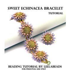 *P Sweet Echinacea Bracelet PDF beading tutorial by LeelaBeads Seed Bead Jewelry, Bead Jewellery, Seed Beads, Beaded Jewelry, Jewelery, Beaded Bracelet Patterns, Beading Patterns, Flower Patterns, Flower Bracelet