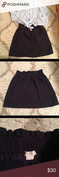 J. Crew Navy Linen Skirt Navy blue J. Crew linen blend skirt. Elastic waist. Great condition, barely worn. J. Crew Skirts