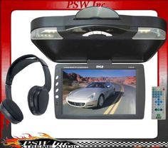 """PLRD143F PYLE 14.1"""" Roof-Mount Monitor with DVD Player & Headphone"""
