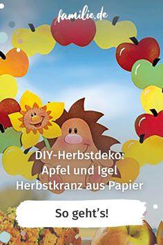Igel & Äpfel sind ein tolles Duo für einen Herbstkranz. Diesen Türkranz für den Herbst können Sie auch ganz einfach aus Papier nachbasteln. #selbermachen #selbstgemacht #DIY #doityourself #basteln #schere #kinder #familie #family #gemeinsam #freizeit #hobby #alltagmitkindern #lebenmitkindern #familienleben #vereintimchaos #homemade #kleinkind #bunt #spaß #children #anleitung #tutorial #sogehts #herbst #herbstkranz #herbstdeko Tweety, Maya, Fictional Characters, Children, Recipes, Hello Autumn, Colored Paper, Fireworks, Craft Kids