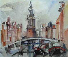Watercolor Amsterdam canal, Jacques Despierre