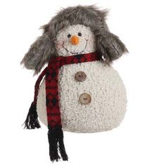 RAZ Snowman with Furry Hat - Cheery cream colored snowman wearing a fuzzy hat with
