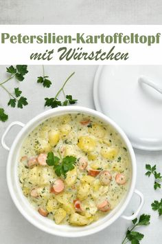 Parsley and potato pot with sausages, lunch, e. from the Thermomix, veg Parsley Potatoes, Stewed Potatoes, Lunch Recipes, Diet Recipes, Healthy Recipes, Easter Recipes, Potato Recipes, Cooking Recipes, Vegetarian Appetizers