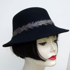 Petite Black Picture/Guinea Feather....Hats for the small head at HAT-A-TUDE.com