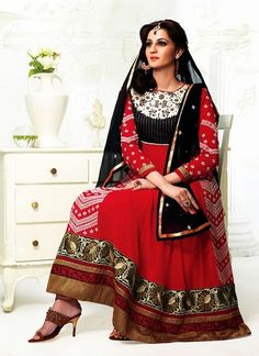 Red Pure Georgette Long Length Anarkali Suit