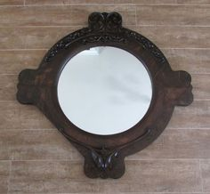 "Vintage Mirror 35"" Dark wood upcycled framed wood antique art deco nouveau round #ArtNouveau"