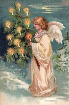 free angel postcard image | ... Victorian and Edwardian Christmas Angels 1890 to 1910 free clip art