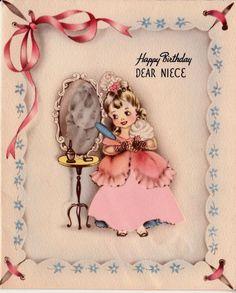 Vintage Happy Birthday Dear Niece Greetings by poshtottydesignz