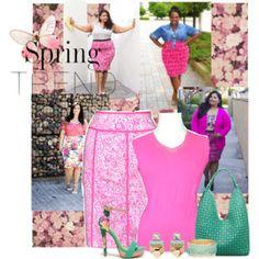 Plus Size Pink Printed Skirt