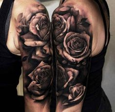 Roses black white water drops Arm - http://tattootodesign.com/roses-black-white-water-drops-arm/ | #Tattoo, #Tattooed, #Tattoos