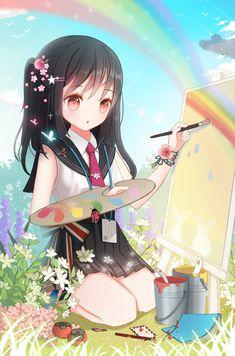 ✮ ANIME ART ✮ anime. . .school uniform. . .artist. . .painter. . .painting. . .canvas. . .rainbow. . .flowers. . .butterfly. . .cute. . .kawaii