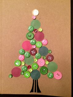 Button Tree DIY Christmas Card A homemade Christmas card is always well received. And when a child sends his Christmas greetings to his grandparents in a DIY Christmas card, the joy on both sides is great. Homemade Christmas Cards, Christmas Cards To Make, Christmas Crafts For Kids, Xmas Crafts, Christmas Projects, Kids Christmas, Handmade Christmas, Christmas Decorations, Christmas Ornaments
