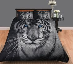 Bedding with Master Bed White Tiger Quilt Cover Set of Tiger Bedroom Ideas