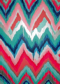S'Wonderful Original ikat chevron 36x48 Painting by Jennifer Moreman
