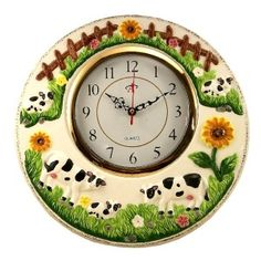 cow kitchen decor | hanging cow clock ,round clock cow theme