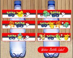 Etiquetas de la botella de agua de Pokemon por Sunnyprintables
