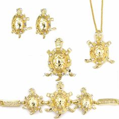 14K Gold Plated Lucky Golden Turtle Earrings Bracelet Necklace Pendant Ring Set