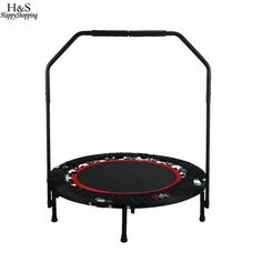 d7f24554cf ANCHEER Workout Folding Trampoline Adjustable Handrail Angle Kids Jumping  Bed Compact