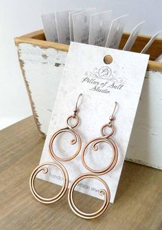 Large Solid copper earrings Wire wrapped earrings wire