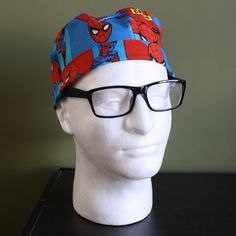 Men's Spiderman Surgical Scrub Hat by FourEyedCreations on Etsy, $15.00 https://www.etsy.com/listing/178434139/mens-spiderman-surgical-scrub-hat