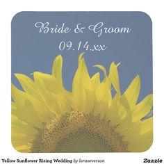 Yellow Sunflower Rising Wedding Square Paper Coaster