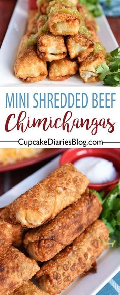Mini Shredded Beef Chimichangas - All the flavors of a classic beef chimichanga are rolled up into a hearty, flavorful, and crispy bite! #ad #MakeGameTimeSaucy