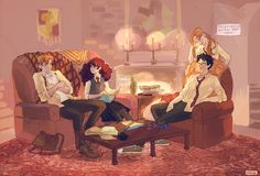 Ron and Hermione, Harry and Ginny - because Ginny knows it before they do. Art by viria
