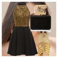 """glitter and black"" by anna-bigsis ❤ liked on Polyvore featuring Miu Miu, Judith Leiber and Sole Society"