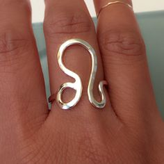 Zodiac symbol ring Leo symbol ring. Sterling silver Jewelry Rings