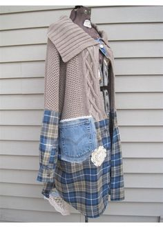 Upcycled Med / Lg Blue Lagenlook Pearl crochet Magnolia Bird flannel Boho Jacket   Clothing, Shoes & Accessories, Women's Clothing, Coats & Jackets   eBay!