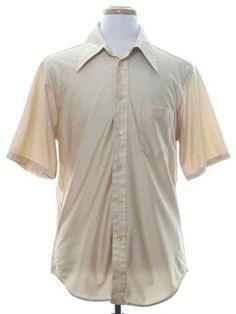 1970's Mens Shiny Solid Disco Shirt