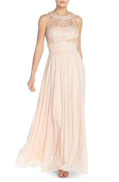 Pale pink Vince Camuto bridesmaid gown: http://www.stylemepretty.com/2016/02/22/taylor-swift-maid-of-honor-dress-britany-maack/