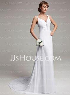 A-Line/Princess V-neck Court Train Chiffon Wedding Dress With Ruffle Beadwork (002012150) - JJsHouse by Ulrica