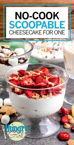 Healthy No-Cook Scoopable Cheesecake for One Recipe   Hungry Girl Single Serve Desserts, Weight Watchers Desserts, No Cook Desserts, Low Carb Desserts, Low Calorie Recipes, Dessert Recipes, Cheesecake For One Recipe, Ww Recipes, Cooking Recipes