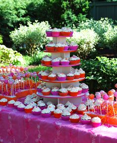 Pink and Orange Dessert Table ..