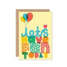 Permet de s'amuser aujourd'hui la carte de voeux - Art mignon / Cute carte de voeux / illustrés salutations positif carte / mignon heureux by stephsayshello on Etsy