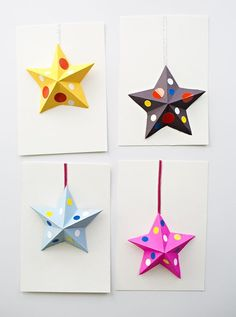 DIY 3D Paper Star Cards Kids Can Make. These cute paper cards are fun for kids to make for New Years, Christmas, Thank  You Cards, or Birthdays.