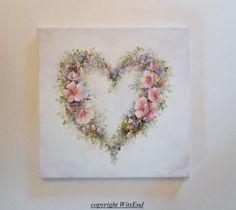 'A SECRET NEST'. Rose Wreath painting original bird hummingbird nest in by 4WitsEnd, via Etsy