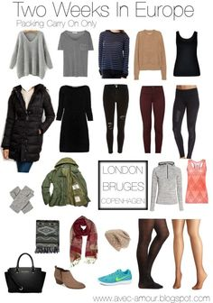 Europe in a carry on europe travel outfits, travel wardrobe, travel wear, t Carry On Packing, Packing For Europe, Winter Packing, Packing Tips For Travel, Paris Packing, Backpacking Europe, Europe Travel Outfits, Travel Wear, Travel Style