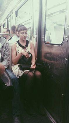 Maiya on the Paris metro (2014)