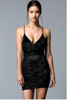 60428b554a9 Black Velvet Strappy Open Back Mini Dress Features Crisscross scrappy open  back