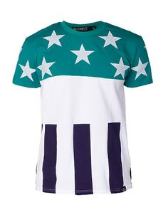 NO COUNTRY American flag style tee Short sleeve design Crew neck RIbbed collar Embroidered start patches on front