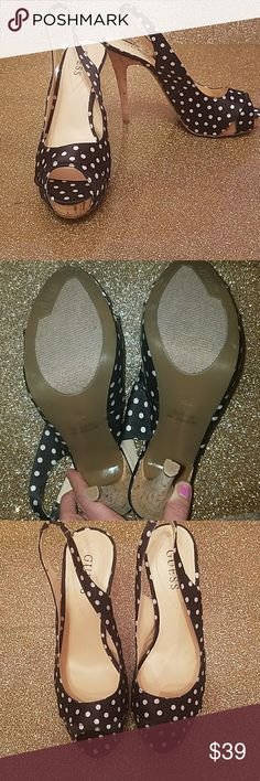 """NWOT GUESS slingback heels polka dot SZ 10 Never worn, NWOT, GUESS brand slingback peep toed heels. Sole is made of cork. 1"""" platform with 4"""" heels.  Black and white polka dots. Guess Shoes Heels"""