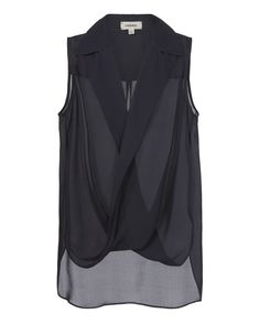 Freja Crossover Draped Blouse The Curated Closet, Navy Blue Blouse, Shoulder Shirts, Silk Top, Blouse Designs, Shirt Blouses, My Style, Crossover, Tops