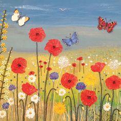 GBP - Wild Flower Butterflies Square Blank Greeting Card By Artist Jo Grundy Art Cards & Garden Garden Tattoos, Oak Tree Tattoo, Garden Mural, Butterfly Quilt, English Artists, Creative Illustration, Painting Inspiration, Painting & Drawing, Flower Art