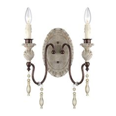 Denise Antique White and Bronze Two-Light Wall Sconce