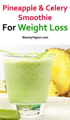 Pineapple and Celery Smoothie for Weight Loss - Ananas-Se Weight Loss Drinks, Weight Loss Smoothies, Healthy Smoothies, Healthy Drinks, Smoothie Recipes, Healthy Snacks, Diet Drinks, Fruit Smoothies, Drink Recipes